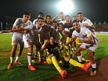 Spain players celebrate their win over France. Getty Images