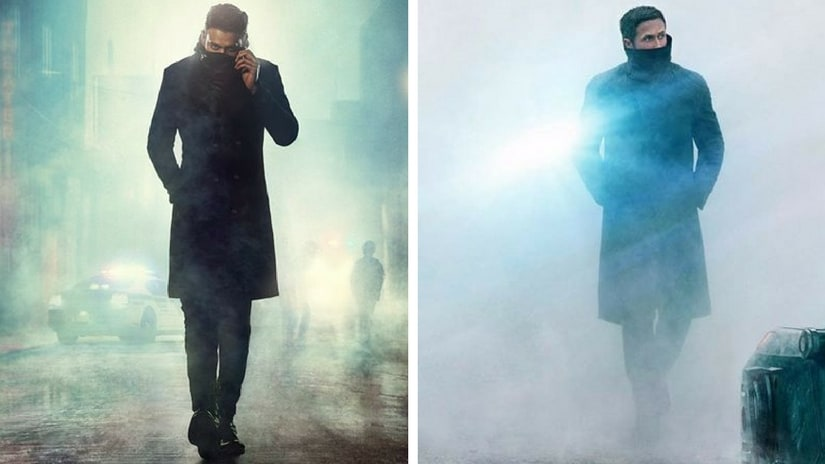 Poster of Prabhas' Saaho (left: Image via Facebook); Ryan Gosling in Blade Runner 2049 (right: Image via Facebook)