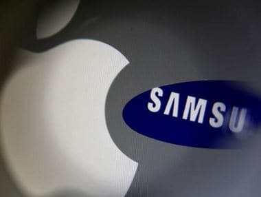 A Samsung logo and a logo of Apple. Reuters