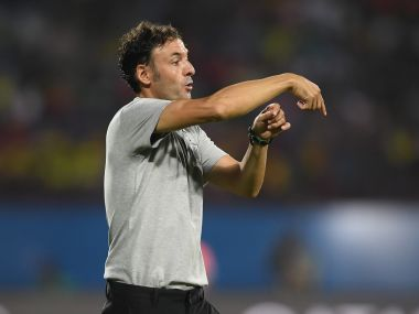 Spain coach Santi Denia  issues instrucions during the FIFA U-17 World Cup India 2017 group D match against Brazil. Getty