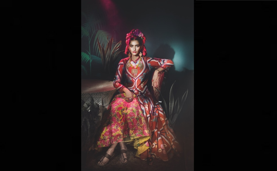 """Sonam Kapoor recently did a photoshoot for Vogue India in which she donned the looks of famous women throughout history. """"At the end of the day, we can endure much more than we think we can."""" - Frida Kahlo. Sonam Kapoor as Frida Kahlo. Hair by Yianni Tsapatori. Image from Twitter/@sonamkapoor."""