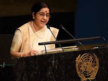 File image of Union External Affairs Minister Sushma Swaraj. AFP
