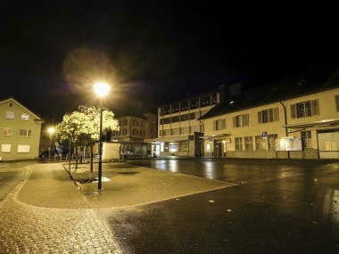 A town square in Flums, Switzerland, where several were injured in an ax attack. AP