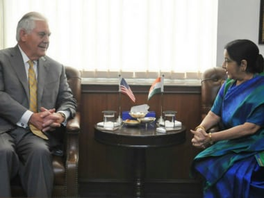 US Secretary of State Rex Tillerson with Indian external affairs minister Sushma Swaraj on Wednesday.  Twitter@RaveeshKumar