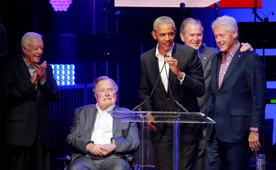 All five of America's living former presidents took the stage at a benefit concert in Texas to raise money for victims of the hurricane-ravaged southern US and Caribbean. Reuters