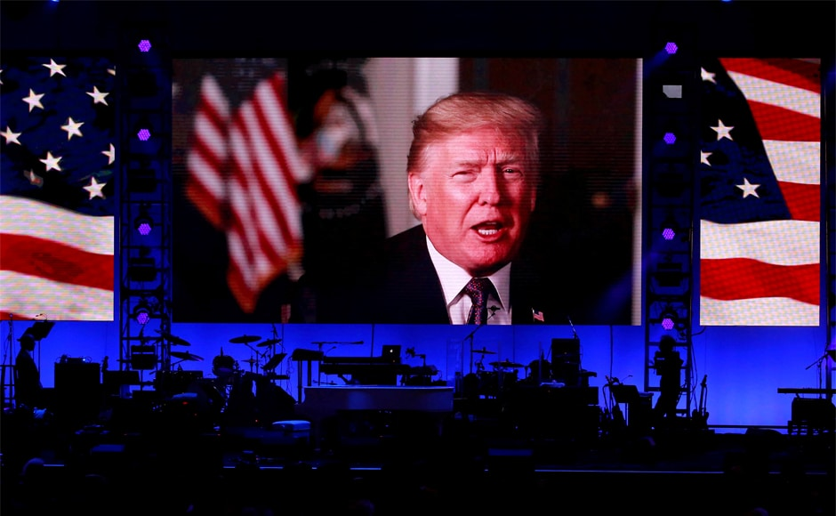 """President Donald Trump did not attend the concert, butpraised the effort in a video message released earlier,terming it a """"wonderful"""" and """"vital effort."""" Reuters"""