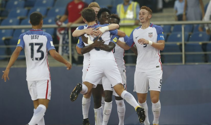 USA team celebrates a goal against Paraguay during their FIFA U-17 World Cup match. AP
