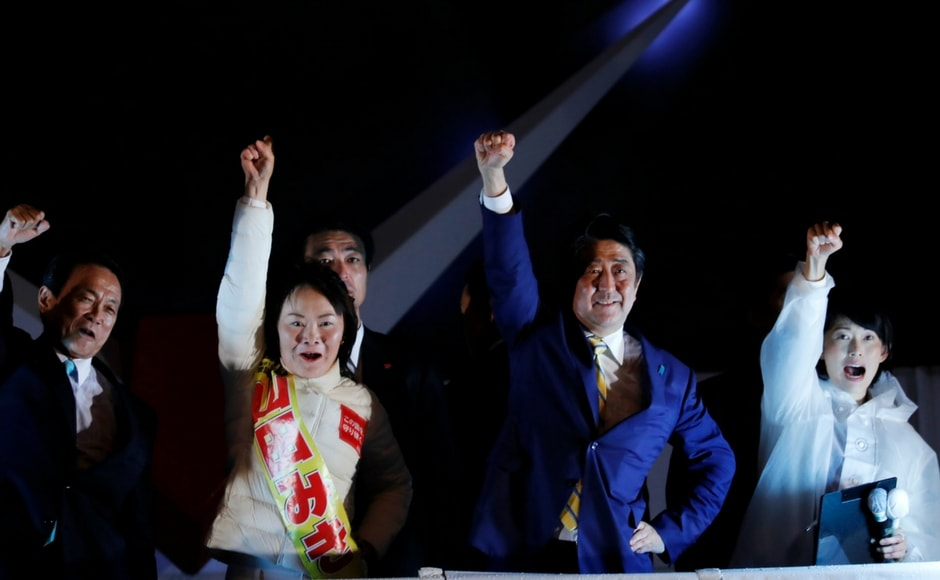 The Japanese leader has taken a hawkish stand against North Korea and said all options are on the table to counter Pyongyang's nuclear threat. AP