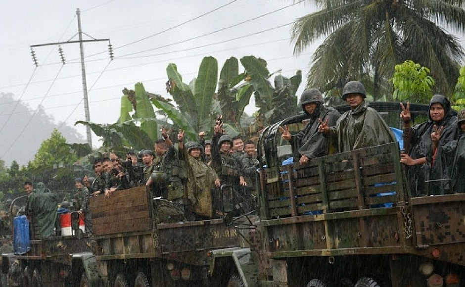 """"""" One of the first thing I'm going to do when I get there is commend the Philippines military for liberating Marawi from terrorists,"""" said US defence secretary James Mattis. Getty Images"""