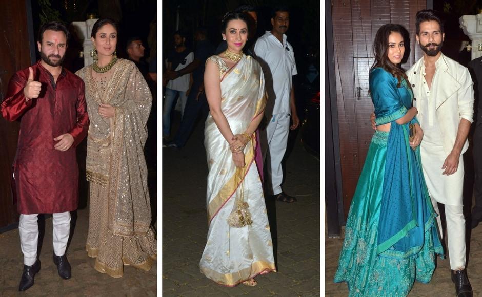 Saif Ali Khan and Kareena Kapoor; Karisma Kapoor; Mira Rajput and Shahid Kapoor at Sonam Kapoor's Diwali bash on Thursday. Photo: Sachin Gokhale/Firstpost