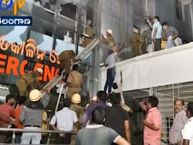 A screengrab of rescue work in progress at the Warangal hospital. Image courtesy: YouTube/ETVTelangana