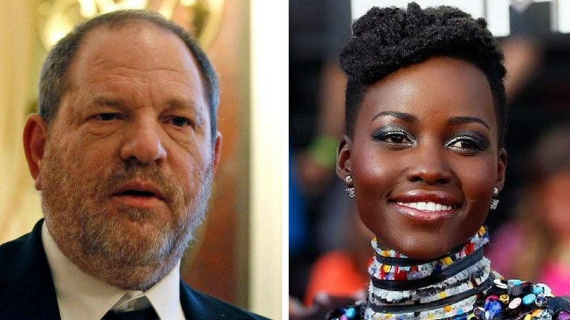 Harvey Weinstein (left); Lupita Nyong'o (right). Images via Facebook