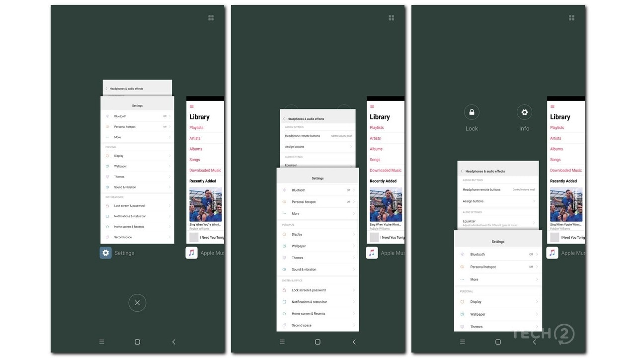 I loved the idea of stacking Settings menus and pages in the Recents menu Image: tech2/Rehan Hooda