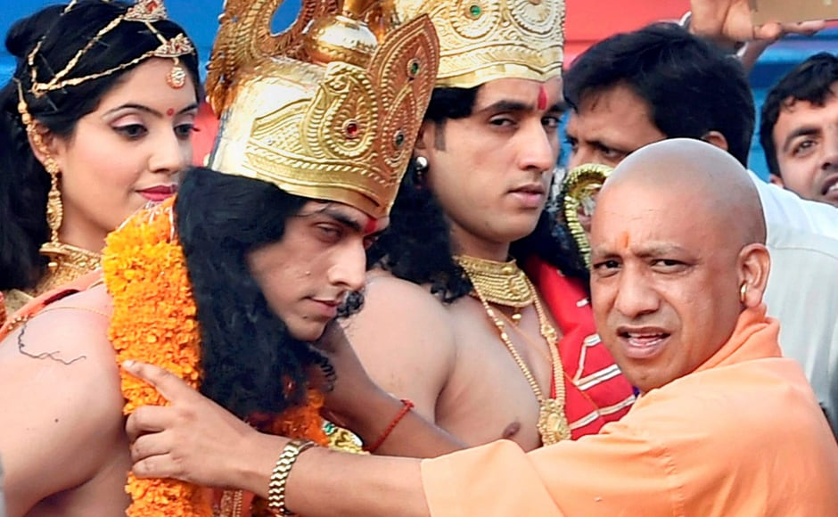 Adityanath welcomes artists dressed up as Lord Rama, Sita and Lakshman in Ayodhya. Referring to opposition parties, he said they had no right to raise questions on his beliefs on Ayodhya. PTI