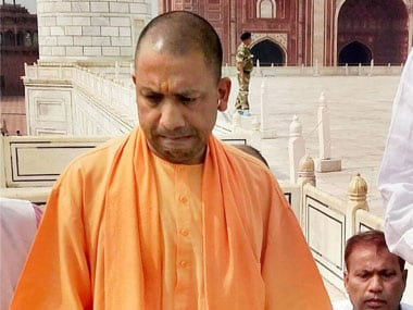 Uttar Pradesh chief minister Yogi Adityanath during a visit to the Taj Mahal in Agra on Thursday. PTI