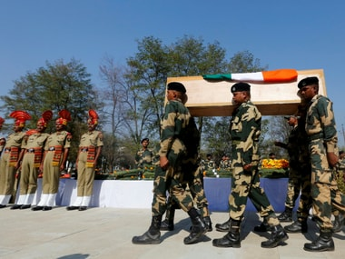 ndian Border Security Force (BSF) soldiers carry the coffin of their fallen colleague. Reuters