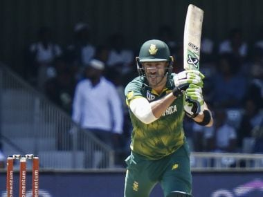 Du Plessis retired hurt on 91 and had to be helped off the field with an acute lower back strain. Twitter/@ICC