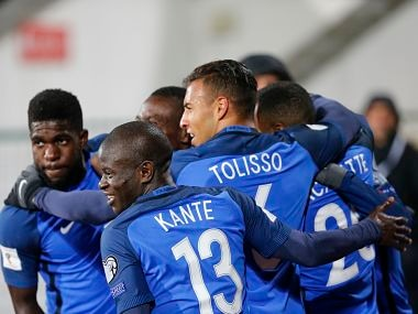 France players celebrate their first goal against Bulgaria during the World Cup Group A qualifying soccer match between Bulgaria and France at Vassil Levski Stadium in Sofia, Bulgaria, Saturday Oct. 7, 2017. (AP Photo)