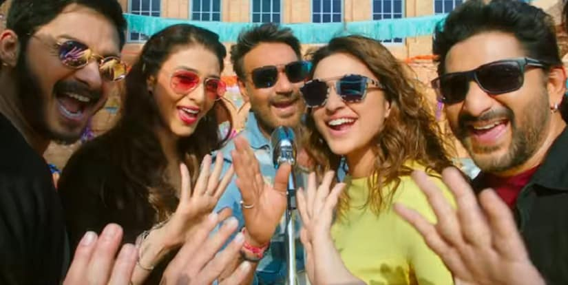 Arshad Warsi, Tabu, Ajay Devgn, Parineeti Chopra and in a still from Golmaal Again. YouTube