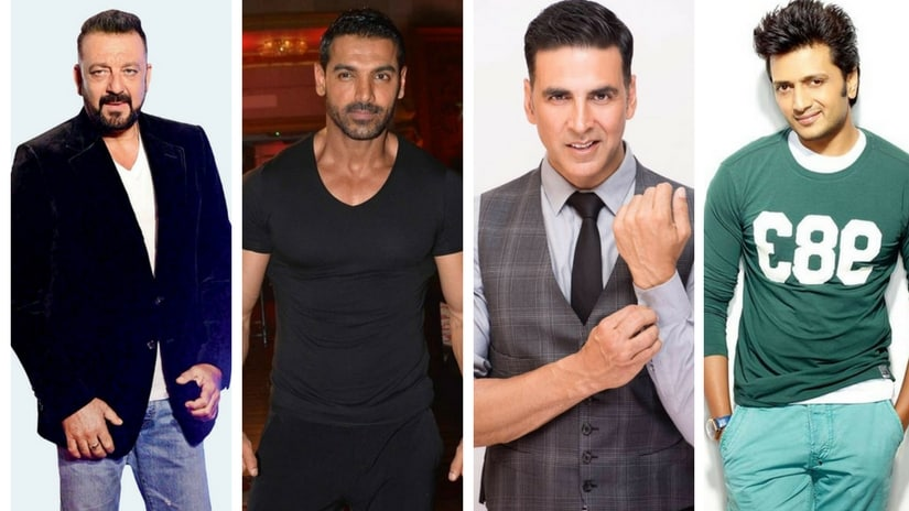 From left: Sanjay Dutt, John Abraham, Akshay Kumar, Riteish Deshmukh. Images via Facebook