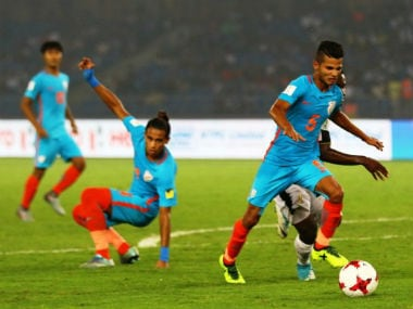 India in action against Ghana in FIFA U-17 World Cup 2017. Twitter/ @IndianFootball