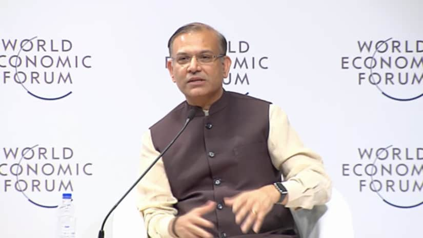 Minister of State for Civil Aviation Jayant Sinha speaking at WEF's India summit in New Delhi