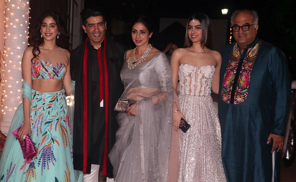 Sridevi and Boney Kapoor with their daughters Jhanvi and Khushi, and designer Manish Malhotra. Photo: Sachin Gokhale/Firstpost