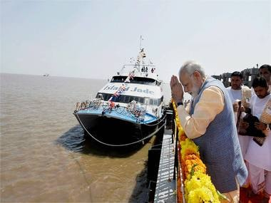 Prime Minister Narendra Modi at Ghogha on Sunday. PTI