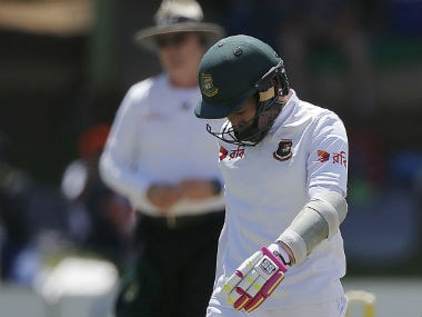 Mushfiqur Rahim walks back after his dismissal during the Day 3 of the 2nd Test against South Africa in Bloemfontein. AFP