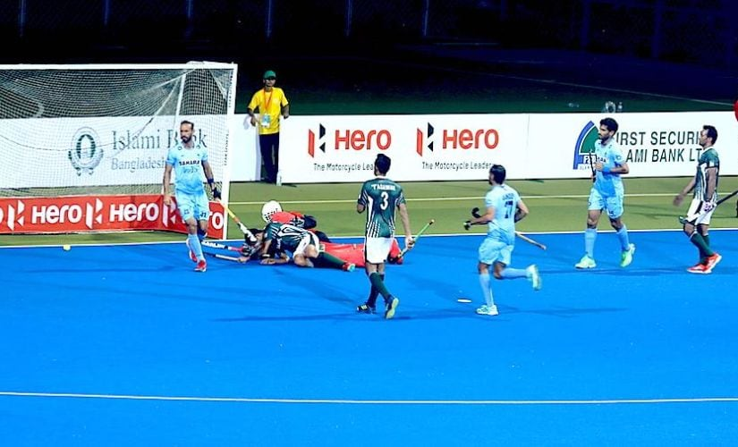 India's Ramandeep Singh reacts after scoring against Pakistan. Image courtesy: Neeraj Tiwari