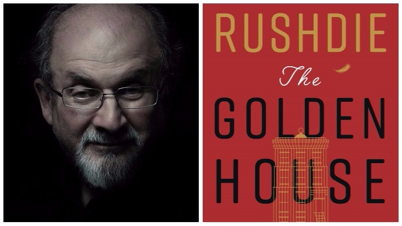 (L) Salman Rushdie; photo by Randall Slavin; (R) cover art for The Golden House; photo courtesy Penguin Random House