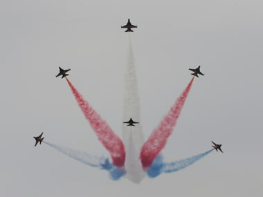 South Korean Air Force's Black Eagles aerobatic team performs during the press day of the 2017 Seoul International Aerospace and Defense Exhibition at Seoul Airport in Seongnam, South Korea, Monday, Oct. 16, 2017.  AP