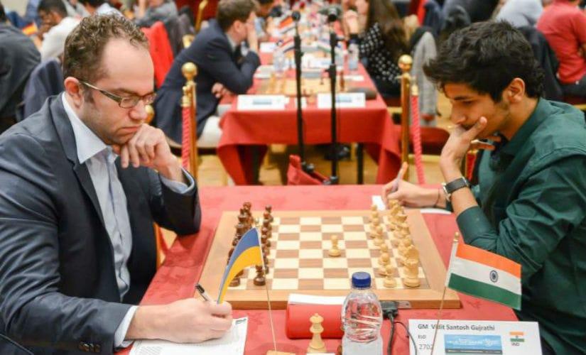 Vidit Gujrathi (R) up against against Pavel Eljanov. John Saunders
