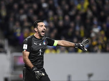 Italy's goalkeeper Gianluigi Buffon shout instructions during their FIFA World Cup 2018 qualification match against Sweden, AFP