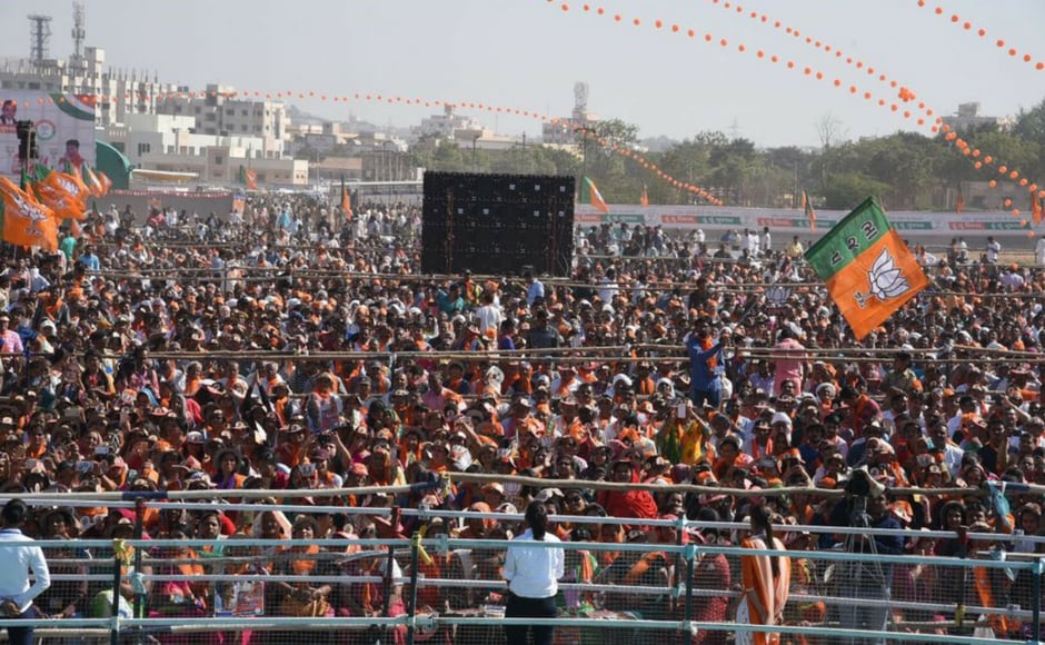 Hundreds gathered in Bhuj to attend Prime Minister Narendra Modi's rally on Monday. Modi is set to address four campaign meetingson Monday and Wednesday in Saurashtra and South Gujarat. Firstpost @Pallavi Rebbapragada