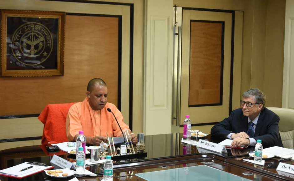 Microsoft co-founder Bill Gates met Uttar Pradesh chief minister Yogi Adityanath and discussed with him ways to intensify immunisation programme against Japanese Encephalitis and Acute Encephalitis Syndrome. Twitter @CMOfficeUP