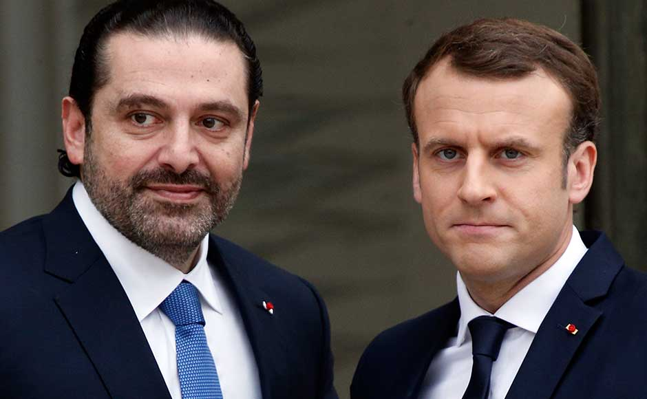 French President Emmanuel Macron welcomed Lebanon's Prime Minister Saad Hariri for talks on Saturday, hours after the Lebanese premier arrived from Saudi Arabia in the midst of a political crisis. AP