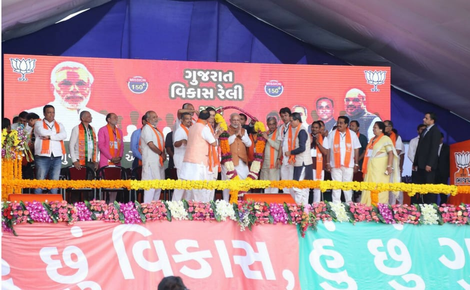 Throughout the day, he addressed the crowds at Bhuj, Kutch, Jasdan and Dhari in Saurashtra and at Kamrej, Surat. Firstpost @Pallavi Rebbapragada