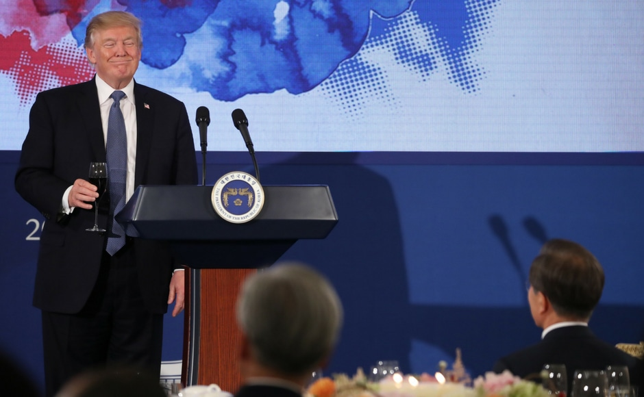 At the joint conference, he said that the US was committed to working towards a diplomatic solution with Pyongyang but was prepared with a full range of military options if necessary. AP
