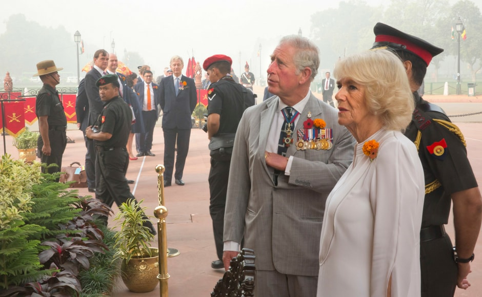The royal couple, who is on a two-day visit to India, also visited the India Gate war memorial. AP
