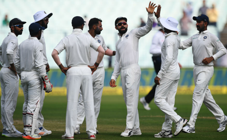 Much was dependent on Nirishan Dickwella and Dinesh Chandimal to take forward their team but both of them didn't last long. Here Virat Kohli and team are seen celebrating Dickwella's dismissal. AFP