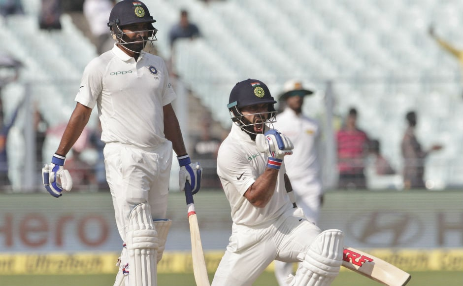 Virat Kohli scored his 50th international century with a fantastic six over covers. Thanks to his ton, India were able to set a target of 231 for Sri Lanka to chase. AP