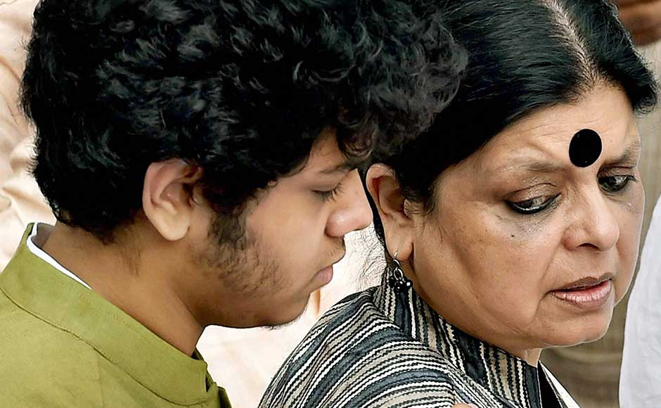He was survived by his wife Deepa Dasmunsi and son Priyadeep, who were at his bedside at the time of his demise. Deepa and her son at the Congress party office Bidhan Bhawan. PTI