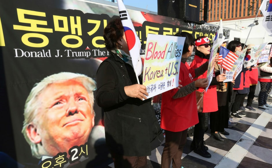 However, there were several pro-Trump rallies that projected him as a 'saviour' for South Korea. AP