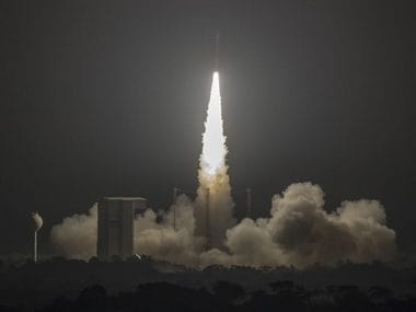 Vega lifts off for its 11th successful mission (VV11) from Europe's Spaceport in French Guiana with the MOHAMMED VI–A satellite. Image Credits: P. Piron / ESA / CNES / Arianespace