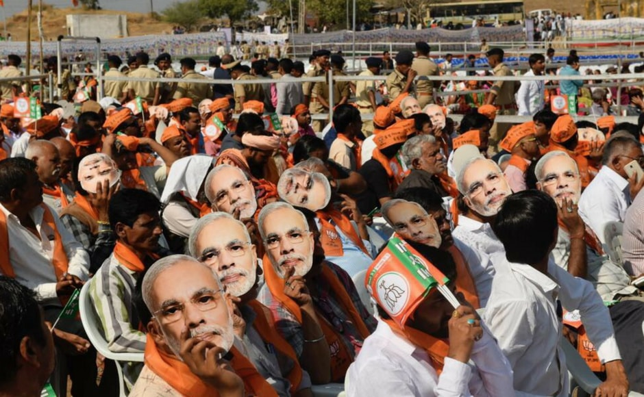 Most of his supporters were seen wearing Modi masks and BJP sashes while chanting the slogan — Har Har Modi. Firstpost @Pallavi Rebbapragada