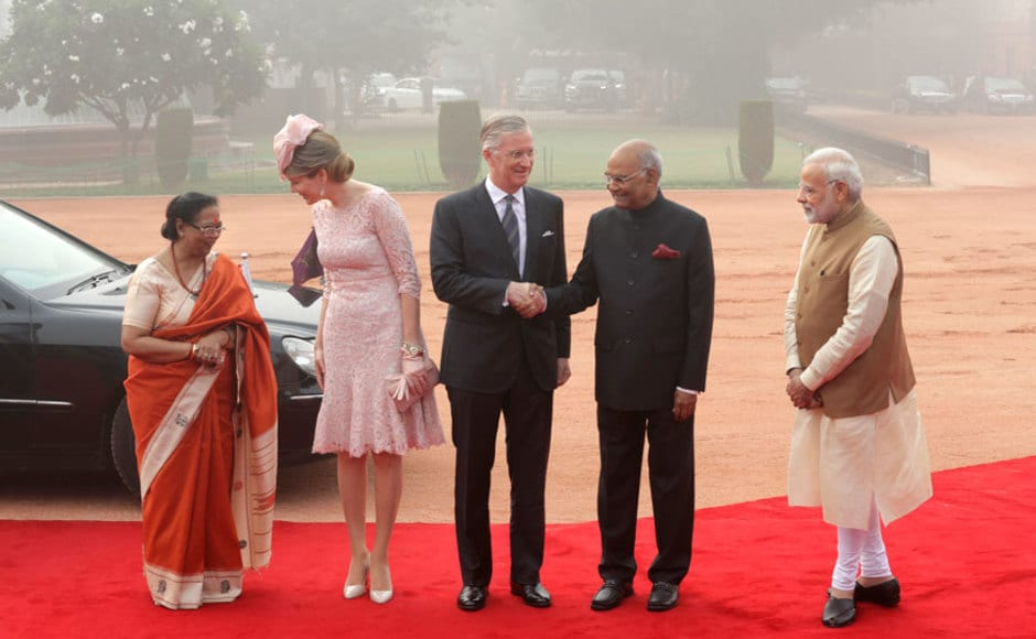 Belgium's royal couple are on a seven-day state visit to India. Prime Minister Narendra Modi met Belgium Queen Mathilde and King Philippe during the ceremonial reception at the Indian presidential palace in New Delhi. AP