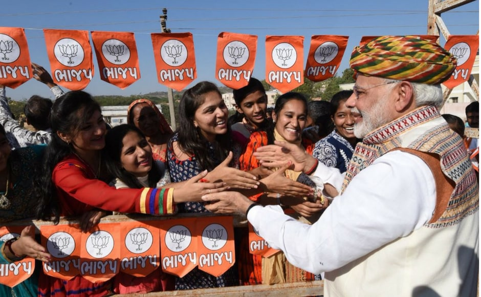 Modi interacts with the youth at Bhuj. He also said that the BJP was not here for power, but is here for 125 crore Indians. It wants to take India to new heights of glory, he said. Firstpost@Pallavi Rebbapragada
