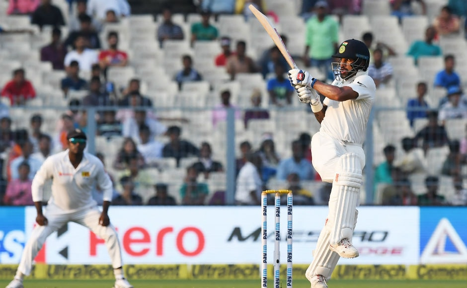 Dhawan played some glorious shots on his way to 94. He should've converted the knock into a century but he fell victim to Dasun Shanaka. AFP