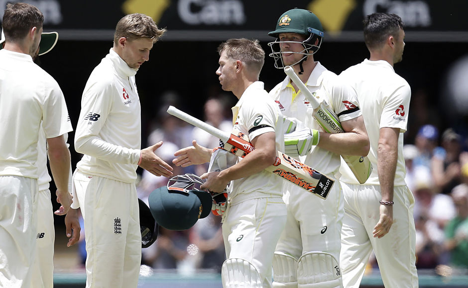 English captain, Joe Root congratulates Australia's opening duo Warner and Bancroft after the home side took 1-0 lead in the 5-match series. England will be desperate to turn things around in the next Test at Adealiade. AP